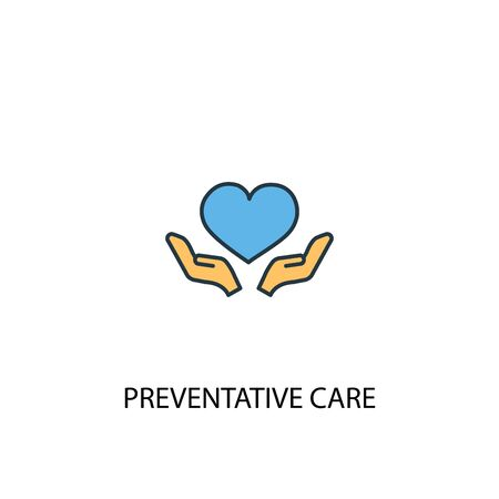 Preventive care concept 2 colored line icon. Simple yellow and blue element illustration. Preventive care concept outline symbol Illustration