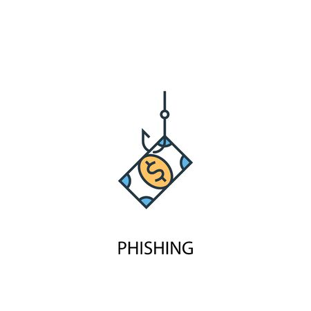 phishing concept 2 colored line icon. Simple yellow and blue element illustration. phishing concept outline symbol