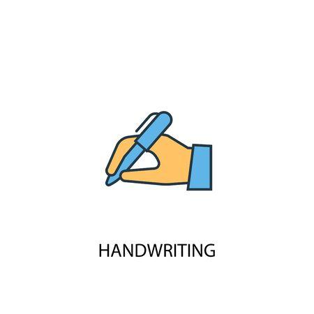 handwriting concept 2 colored line icon. Simple yellow and blue element illustration. handwriting concept outline symbol design Ilustração