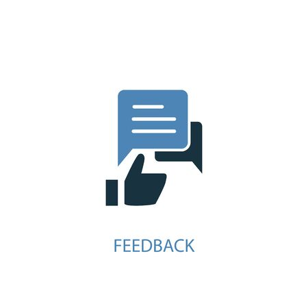 feedback concept 2 colored icon. Simple blue element illustration. feedback concept symbol design. Can be used for web and mobile