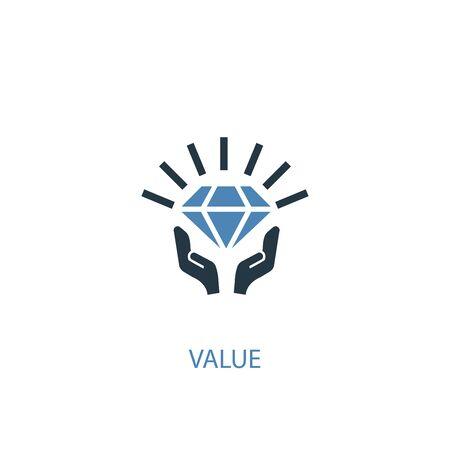 valeur concept 2 icône de couleur. Illustration de l'élément bleu simple. conception de symbole de concept de valeur. Peut être utilisé pour le Web et le mobile Vecteurs