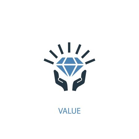 value concept 2 colored icon. Simple blue element illustration. value concept symbol design. Can be used for web and mobile