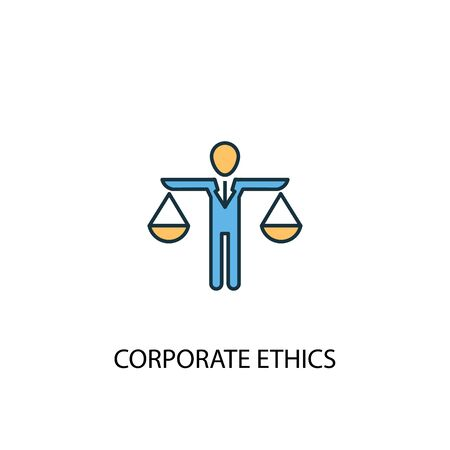 L'éthique d'entreprise concept 2 icône de ligne colorée. Illustration simple d'élément jaune et bleu. symbole de contour de concept d'éthique d'entreprise