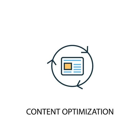Content Optimization concept 2 colored line icon. Simple yellow and blue element illustration. Content Optimization concept outline symbol
