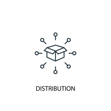 distribution concept line icon. Simple element illustration. distribution concept outline symbol design. Can be used for web and mobile 向量圖像