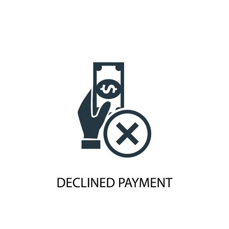 declined payment icon. Simple element illustration. declined payment concept symbol design. Can be used for web