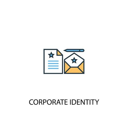 corporate identity concept 2 colored line icon. Simple yellow and blue element illustration. corporate identity concept outline symbol Çizim