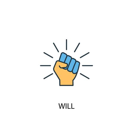 will concept 2 colored line icon. Simple yellow and blue element illustration. will concept outline symbol  イラスト・ベクター素材