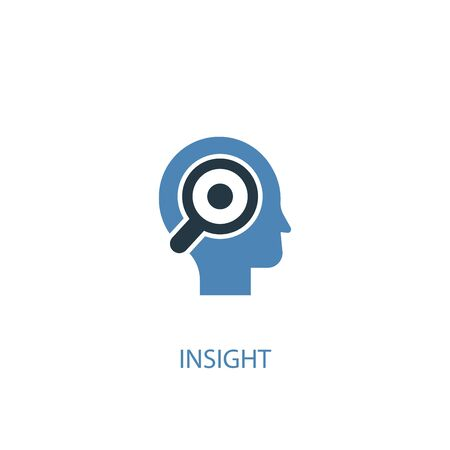 insight concept 2 colored icon. Simple blue element illustration. insight concept symbol design. Can be used for web and mobile Illustration