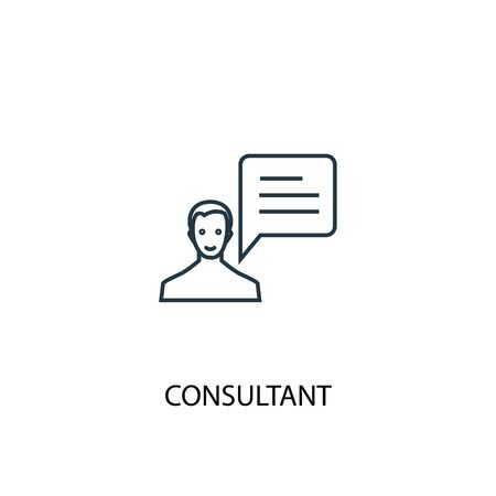 consultant concept line icon. Simple element illustration. consultant concept outline symbol design. Can be used for web and mobile Stock Illustratie