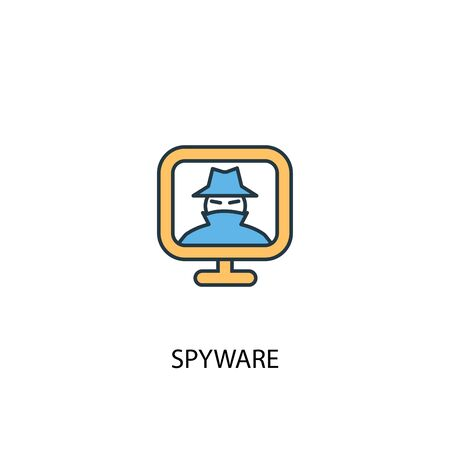 spyware concept 2 colored line icon. Simple yellow and blue element illustration. spyware concept outline symbol