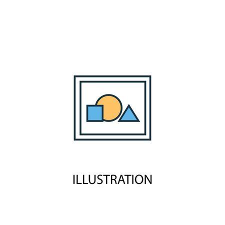 illustration concept 2 colored line icon. Simple yellow and blue element illustration. illustration concept outline symbol Ilustrace