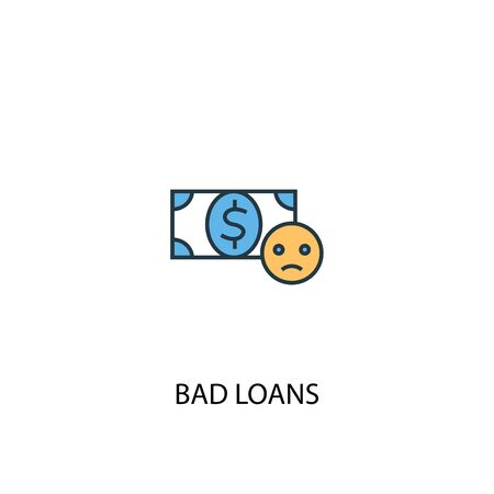 Bad loans concept 2 colored line icon. Simple yellow and blue element illustration. Bad loans concept outline symbol