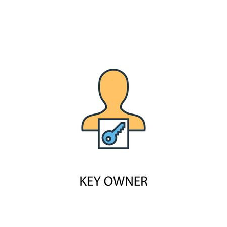 key owner concept 2 colored line icon. Simple yellow and blue element illustration. key owner concept outline symbol