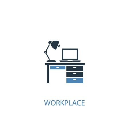 workplace concept 2 colored icon. Simple blue element illustration. workplace concept symbol design. Can be used for web and mobile UI