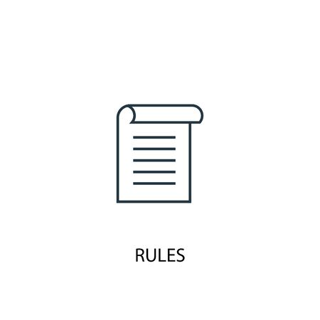 rules concept line icon. Simple element illustration. rules concept outline symbol design. Can be used for web and mobile 向量圖像