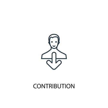 contribution concept line icon. Simple element illustration. contribution concept outline symbol design. Can be used for web and mobile