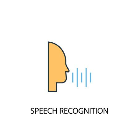 Speech Recognition concept 2 colored line icon. Simple yellow and blue element illustration. Speech Recognition concept outline symbol