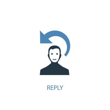 reply concept 2 colored icon. Simple blue element illustration. reply concept symbol design. Can be used for web and mobile Çizim