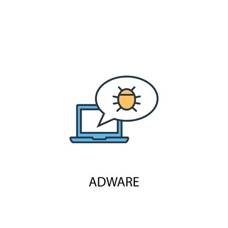 Adware concept 2 colored line icon. Simple yellow and blue element illustration. Adware concept outline symbol Ilustração