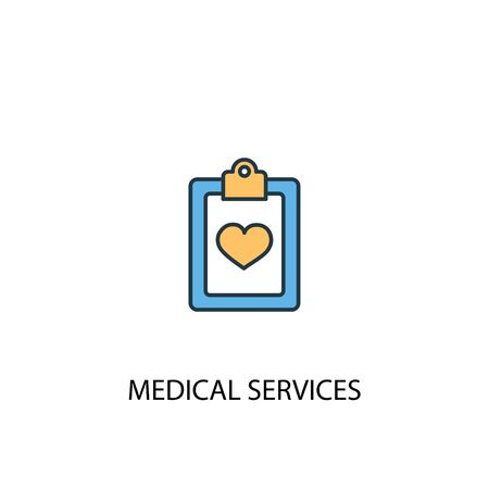 Medical services concept 2 colored line icon. Simple yellow and blue element illustration. Medical services concept outline symbol design Ilustração
