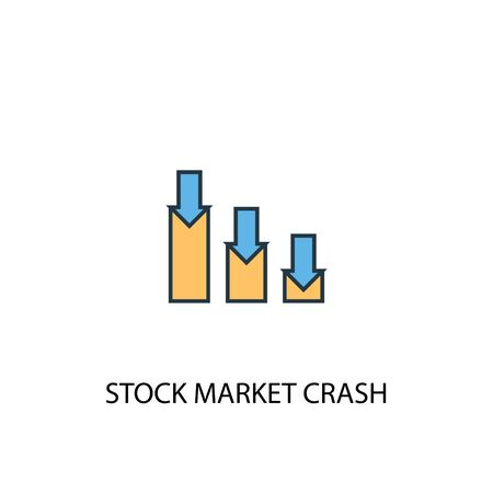 stock market crash concept 2 colored line icon. Simple yellow and blue element illustration. stock market crash concept outline symbol