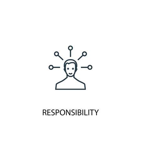 icono de línea de concepto de responsabilidad. Ilustración de elemento simple. diseño de símbolo de esquema de concepto de responsabilidad. Se puede utilizar para web y móvil.