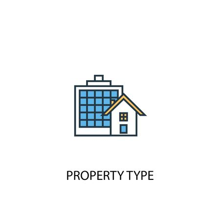 Property Type concept 2 colored line icon. Simple yellow and blue element illustration. Property Type concept outline symbol Stock fotó - 130217553