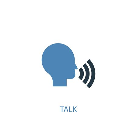 talk concept 2 colored icon. Simple blue element illustration. talk concept symbol design. Can be used for web and mobile