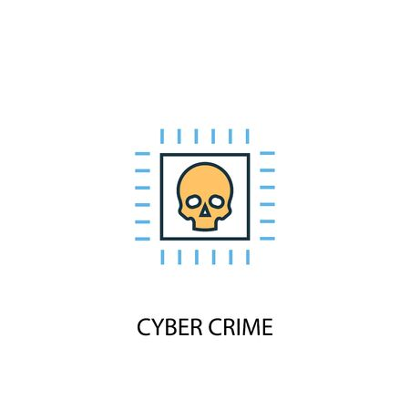 cyber crime concept 2 colored line icon. Simple yellow and blue element illustration. cyber crime concept outline symbol
