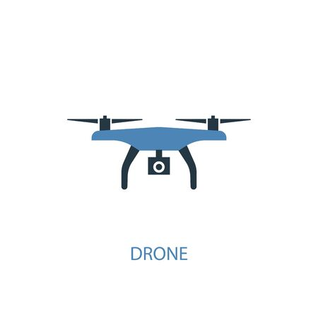 drone concept 2 colored icon. Simple blue element illustration. drone concept symbol design. Can be used for web and mobile