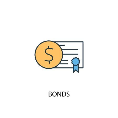 Bonds concept 2 colored line icon. Simple yellow and blue element illustration. Bonds concept outline symbol Illusztráció