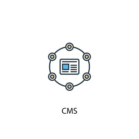 CMS concept 2 colored line icon. Simple yellow and blue element illustration. CMS concept outline symbol Illustration