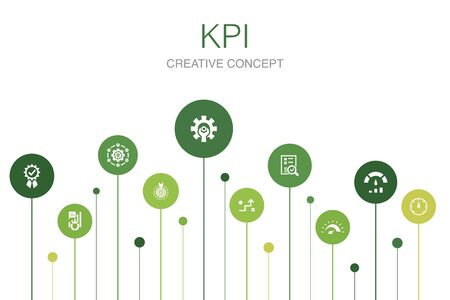 KPI Infographic 10 steps template.optimization, objective, measurement, indicator icons