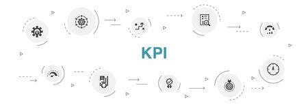 KPI Infographic 10 steps circle design. optimization, objective, measurement, indicator icons