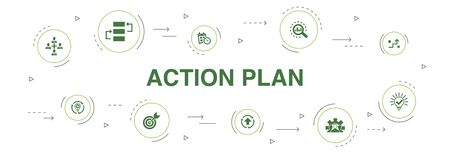 action plan Infographic 10 steps circle design. improvement, strategy, implementation, analysis icons