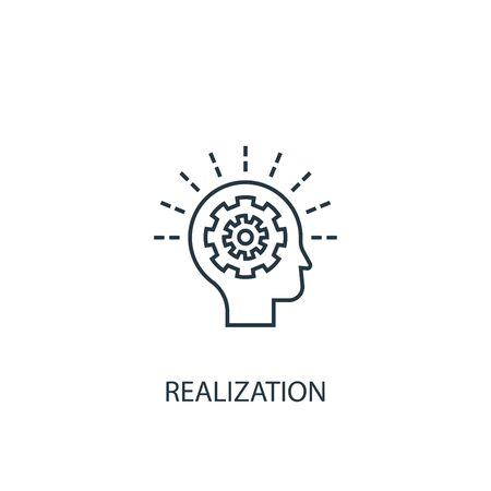 realization concept line icon. Simple element illustration. realization concept outline symbol design. Can be used for web and mobile 일러스트