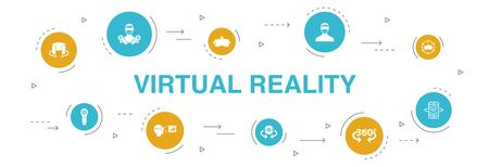 virtual reality Infographic 10 steps circle design. VR helmet, Augmented reality, 360 view, VR controller icons Illustration