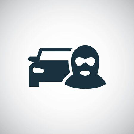 Autodieb-Symbol auf weißem Hintergrund.