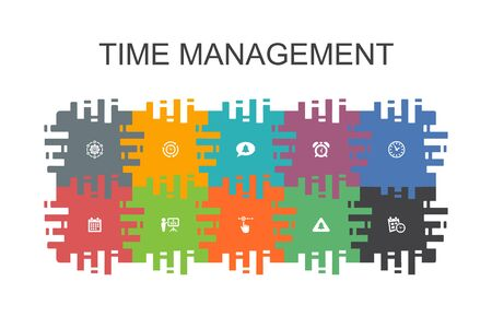 Time Management cartoon template with flat elements. Contains such icons as efficiency, reminder, calendar, planning Stockfoto - 130148555