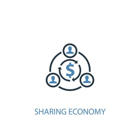 sharing economy concept 2 colored icon. Simple blue element illustration. sharing economy concept symbol design. Can be used for web and mobile  イラスト・ベクター素材