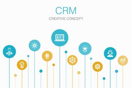 CRM Infographic 10 steps template. customer, management, relationship, service icons Foto de archivo - 130216815