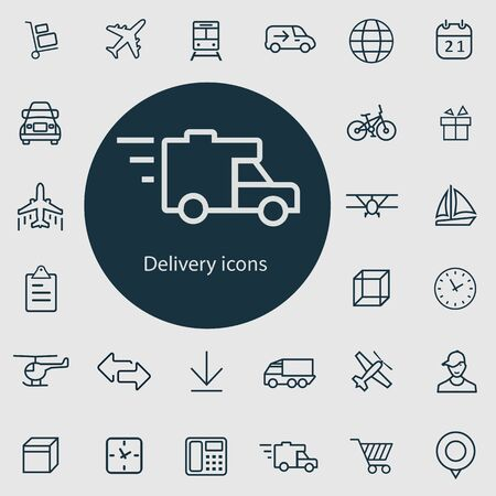 delivery outline, thin, flat, digital icon set for web and mobile.