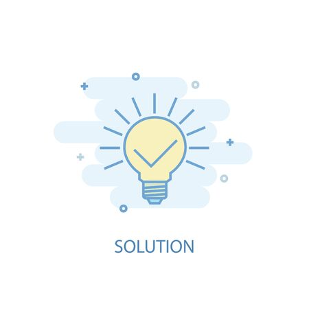 solution line concept. Simple line icon, colored illustration. solution symbol flat design. Can be used for UI Foto de archivo - 130148516