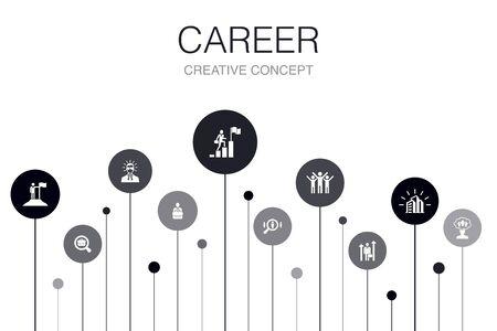 Modèle d'infographie de carrière en 10 étapes. entreprise, leadership, embauche, icônes de recherche d'emploi Vecteurs
