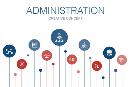 administration Infographic 10 steps template. management, schedule, presentation, corporation icons