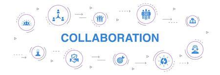 collaboration Infographie 10 étapes cercle design.travail d'équipe, soutien, communication, icônes de motivation