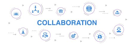 collaborazione Infografica 10 passi cerchio design.teamwork, supporto, comunicazione, icone di motivazione