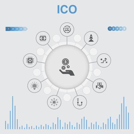 ICO infographic met pictogrammen. Bevat iconen als cryptocurrency, opstarten, digitale economie, technologie Vector Illustratie