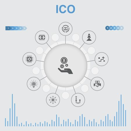 ICO infographic with icons. Contains such icons as cryptocurrency, startup, digital economy, technology Vetores